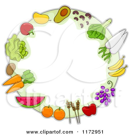Cartoon of a Round Frame of Fruit Vegetables and Grains - Royalty Free Vector Clipart by BNP Design Studio
