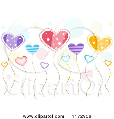 Cartoon of a Background of Colorful Heart Balloons and Dots - Royalty Free Vector Clipart by BNP Design Studio