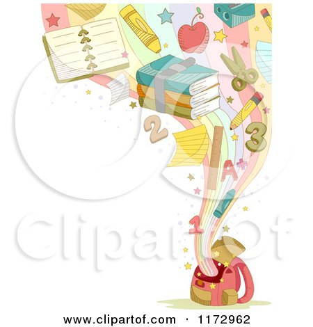 Cartoon of a Background of School Items Emerging from a Backpack, with Copyspace - Royalty Free Vector Clipart by BNP Design Studio