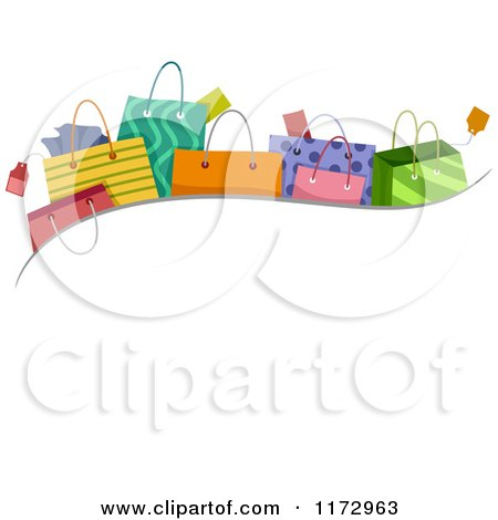 Cartoon of a Wave of Shopping or Gift Bags over Copyspace - Royalty Free Vector Clipart by BNP Design Studio