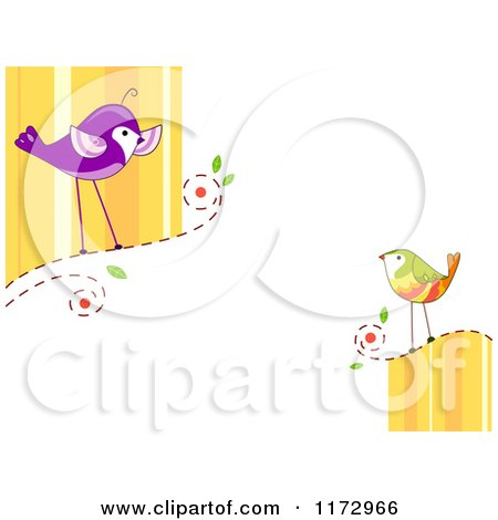 Cartoon of Talking Birds with Copyspace - Royalty Free Vector Clipart by BNP Design Studio
