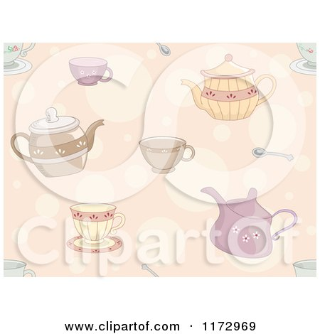 Cartoon of a Seamless Tea Pot Cup and Spoon Pattern - Royalty Free Vector Clipart by BNP Design Studio