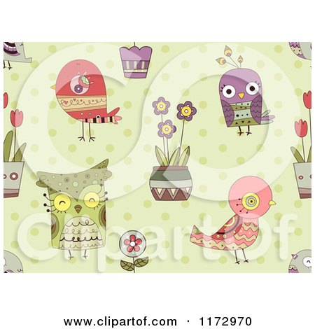 Cartoon of a Seamless Bird Flower and Owl Pattern on Green - Royalty Free Vector Clipart by BNP Design Studio