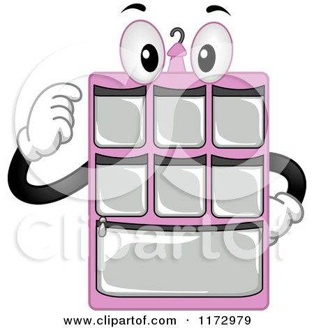 Cartoon of a Pink Hanging Closet Organizer Mascot - Royalty Free Vector Clipart by BNP Design Studio