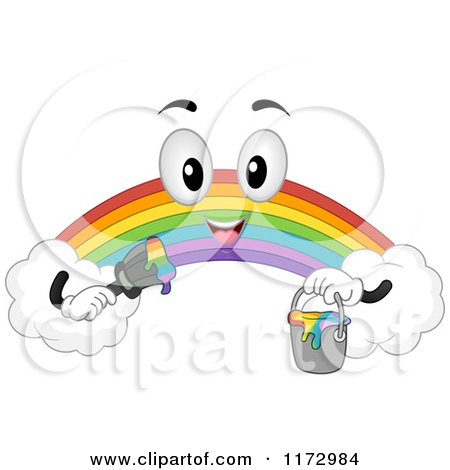 Cartoon of a Rainbow Mascot Holding a Paint Bucket and Brush - Royalty Free Vector Clipart by BNP Design Studio