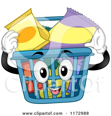 Cartoon of a Shopping Basket Mascot Inserting Snacks - Royalty Free Vector Clipart by BNP Design Studio