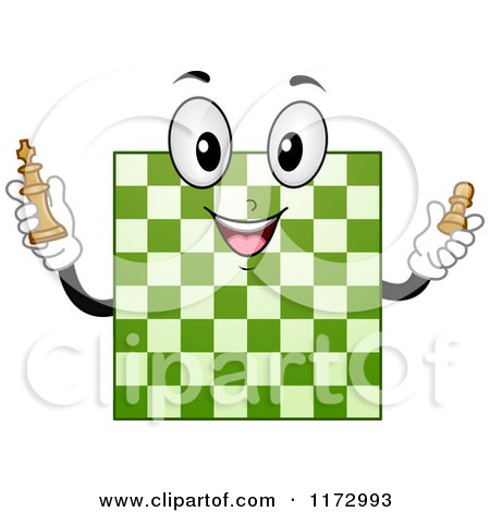 Cartoon of a Green Chess Board Mascot - Royalty Free Vector Clipart by BNP Design Studio