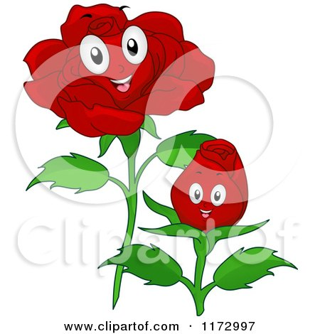 Cartoon of Happy Red Rose Mascots - Royalty Free Vector Clipart by BNP Design Studio