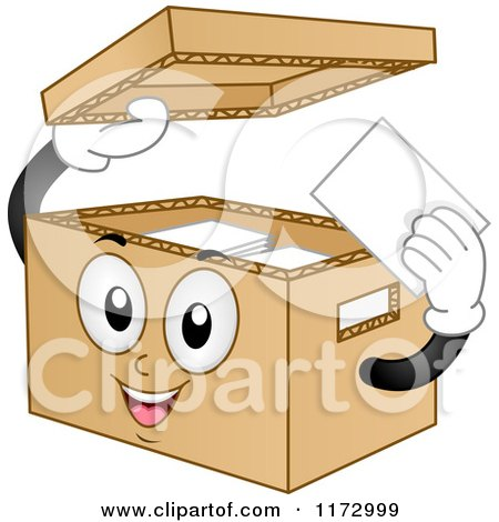 Cartoon of a Cardboard Bankers Box Mascot - Royalty Free Vector Clipart by BNP Design Studio