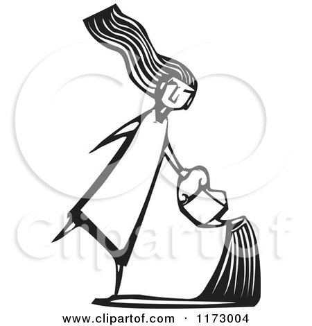 Girl Using a Watering Can, Black and White Woodcut Posters, Art Prints