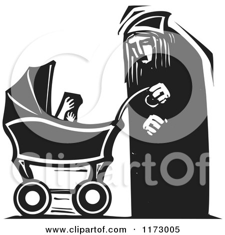 Clipart of an Old Woman with a Baby Carriage, Black and White Woodcut - Royalty Free Vector Illustration by xunantunich