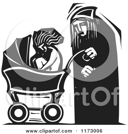 Clipart of an Old Man and a Baby in a Carriage, Black and White Woodcut - Royalty Free Vector Illustration by xunantunich