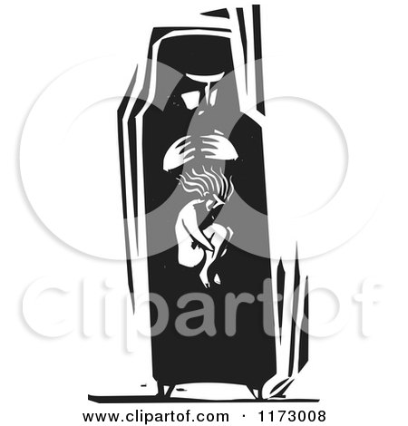 Clipart of a Woman with a Girl Within Her Belly, Black and White Woodcut - Royalty Free Vector Illustration by xunantunich