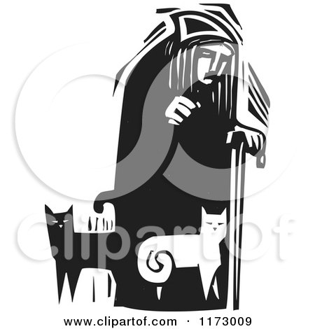 Clipart of an Old Lady with Cats at Her Feet, Black and White Woodcut - Royalty Free Vector Illustration by xunantunich