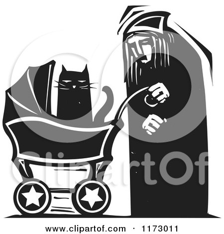 Clipart of an Old Lady with a Cat in a Baby Carriage, Black and White Woodcut - Royalty Free Vector Illustration by xunantunich