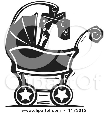 Clipart of a Baby with a Mobile in a Carriage, Black and White Woodcut - Royalty Free Vector Illustration by xunantunich