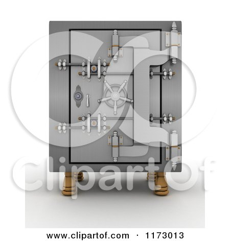 Clipart of a 3d Locked Vault Safe - Royalty Free CGI Illustration by KJ Pargeter