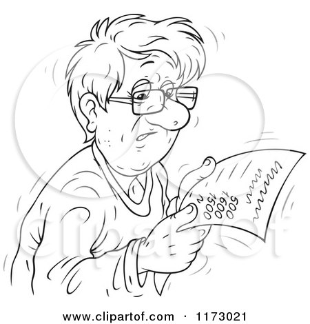 Cartoon of a Sketched Black and White Worried Man Reading a Bill - Royalty Free Vector Clipart by Alex Bannykh