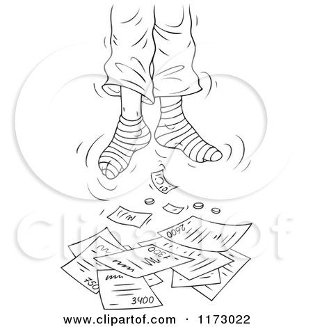 Cartoon of a Sketched Hanged Dead Man's Feet Dangling over Bills - Royalty Free Vector Clipart by Alex Bannykh