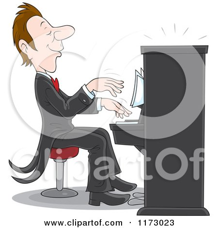 Cartoon of a Pianist Playing Music at a Concert - Royalty Free Vector Clipart by Alex Bannykh