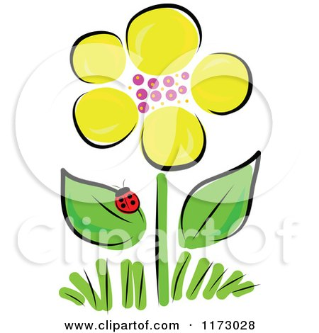 Cartoon of a Yellow Spring Flower and Ladybug - Royalty Free Vector Clipart by Maria Bell