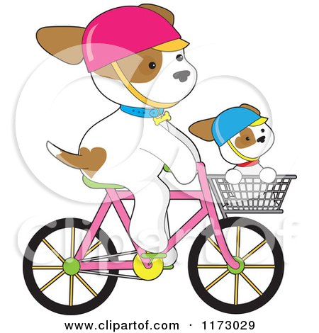 Cartoon of a Cute Dogs Riding on a Bicycle and in a Basket - Royalty Free Vector Clipart by Maria Bell