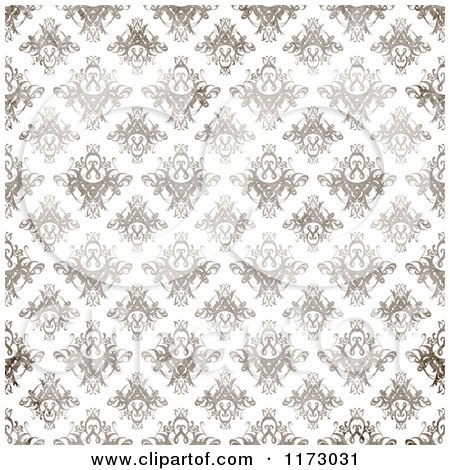 Clipart of a Seamless Brown Textured Damask Pattern on White - Royalty Free CGI Illustration by Arena Creative
