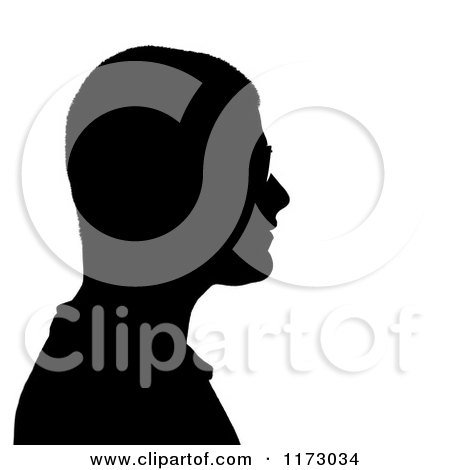 Clipart of a Silhouetted Man Wearing Glasses in Profile - Royalty Free CGI Illustration by Arena Creative