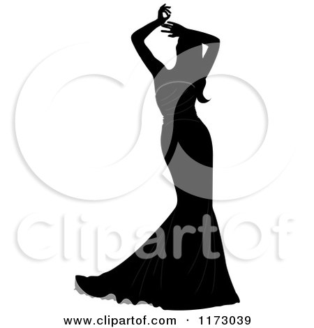 Clipart of a Silhouetted Bride in a Mermaid Wedding Gown, Holding Her Arms Above Her Head - Royalty Free Vector Illustration by Pams Clipart