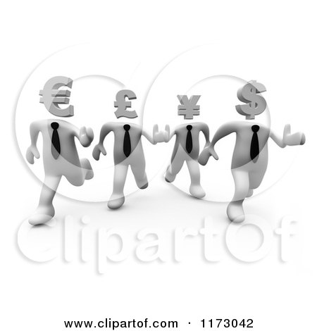 Clipart of 3d White World Currency Businessmen Racing - Royalty Free CGI Illustration by 3poD