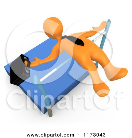 Clipart of a 3d Orange Businessman Doing a High Jump with a Briefcase - Royalty Free CGI Illustration by 3poD