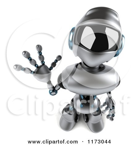 Clipart of a 3d Silver Male Techno Robot Looking up and Waving - Royalty Free CGI Illustration by Julos
