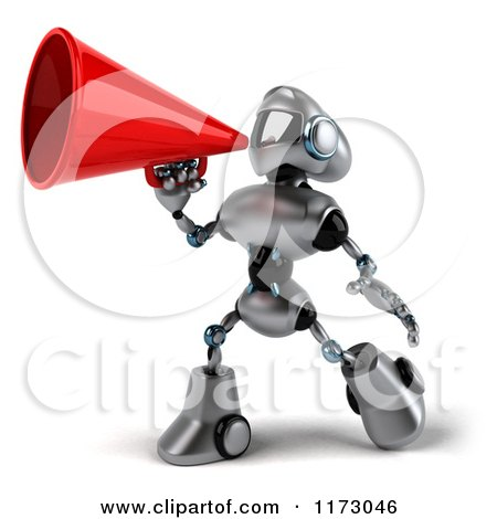 Clipart of a 3d Silver Male Techno Robot Using a Megaphone - Royalty Free CGI Illustration by Julos