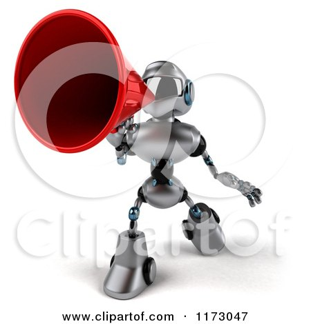 Clipart of a 3d Silver Male Techno Robot Using a Megaphone 2 - Royalty Free CGI Illustration by Julos