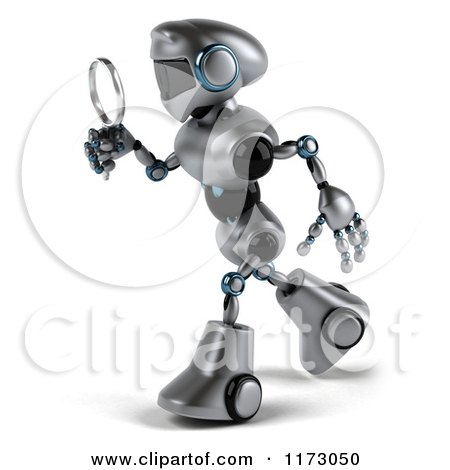 Clipart of a 3d Silver Male Techno Robot Using a Magnifying Glass 2 - Royalty Free CGI Illustration by Julos