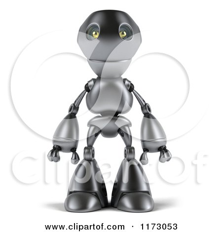 Clipart of a 3d Silver Robot Mascot Standing - Royalty Free CGI Illustration by Julos