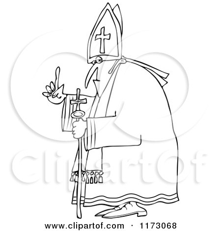 Cartoon of an Outlined Pope Holding up a Finger - Royalty Free Vector Clipart by djart