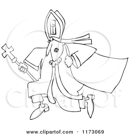 Cartoon of an Outlined Pope Running - Royalty Free Vector Clipart by djart