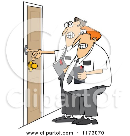 Cartoon of Nervous Missionaries Ringing a Door Bell - Royalty Free Vector Clipart by djart
