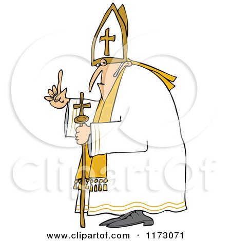 Cartoon of a Pope Holding up a Finger - Royalty Free Vector Clipart by djart