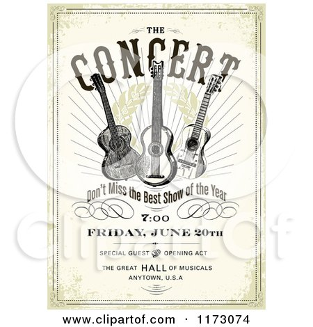Clipart of a Grungy Concert Poster Design with Three Guitars and Sample Text - Royalty Free Vector Illustration by BestVector