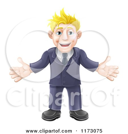 Cartoon of a Welcoming Blond Businessman in a Blue Suit - Royalty Free Vector Clipart by AtStockIllustration