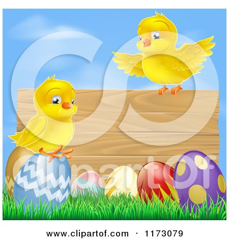Cartoon of a Wooden Sign with Chicks and Easter Eggs Against Blue Sky - Royalty Free Vector Clipart by AtStockIllustration