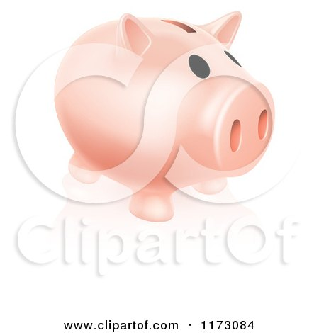 Cartoon of a Pale Pink Piggy Bank and Reflection on White - Royalty Free Vector Clipart by AtStockIllustration