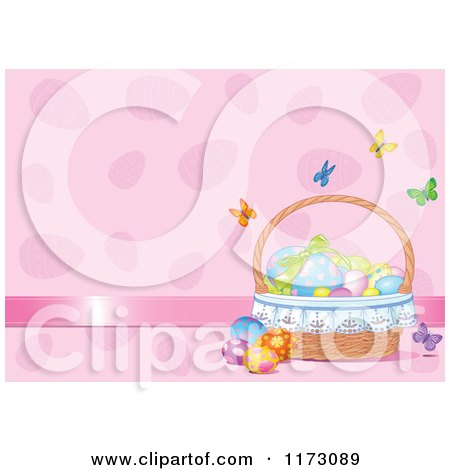 Cartoon of Butterflies Fluttering Around a Basket of Easter Eggs on Pink - Royalty Free Vector Clipart by Pushkin