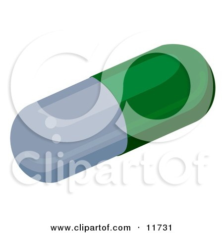 Green and Gray Capsule Pill Clipart Illustration by AtStockIllustration