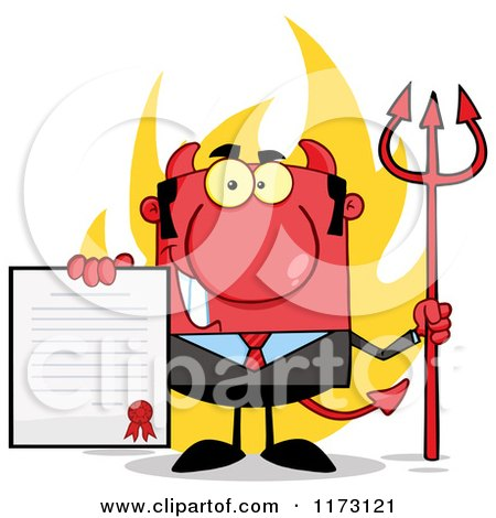 Cartoon of a Devil Businessman Holding a Contract and Pitchfork with Flames - Royalty Free Vector Clipart by Hit Toon