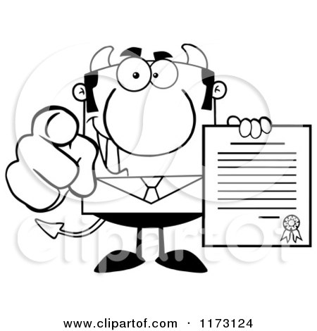 Cartoon of a Black and White Devil Businessman Pointing Outwards and Holding a Contract - Royalty Free Vector Clipart by Hit Toon