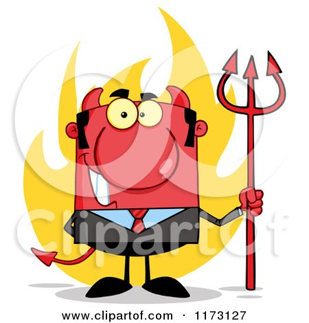 Cartoon of a Devil Businessman with a Pitchfork and Flames - Royalty Free Vector Clipart by Hit Toon