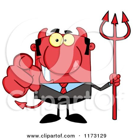 Cartoon of a Devil Businessman Pointing Outwards and Holding a Pitchfork - Royalty Free Vector Clipart by Hit Toon